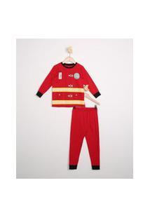 Pijama Infantil Manga Longa Bombeiro Vermelho