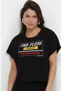 Camiseta Ellus 2Nd Floor Race Cropped Feminina - Feminino-Preto