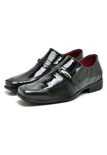 Sapato Social Masculino Mb Outlet Verniz Preto Com Quadriculado Preto