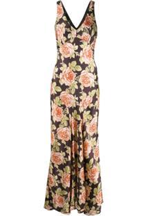 Paco Rabanne Floral Print Maxi Dress - Marrom