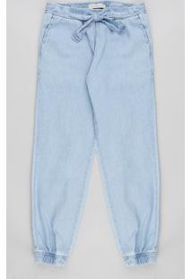 Calça Clochard Jeans Infantil Com Laço Azul Claro
