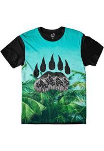 f7613643eb495 Camiseta Long Beach Pegada De Urso Palmeira Sublimada - Masculino-Azul