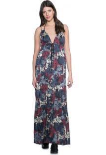 Vestido Amaro Longo Cetim Laço Decote - Feminino