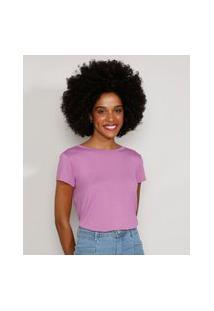 Camiseta Feminina Manga Curta Básica Com Botões Decote Redondo Lilás