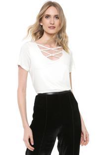 Camiseta Ana Hickmann Strappys Off-White