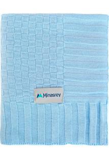 Manta Tricô Minasrey Cia Do Neném Luxo Azul Bebê
