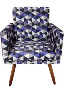 Poltrona Decorativa Nina Suede Triângulo Roxo - Ds Móveis
