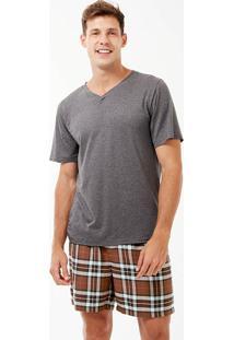 Pijama Curto Manga Curta Flanela Ártico Masculino