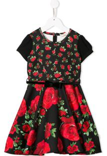 Monnalisa Vestido Evasê Com Estampa De Rosas - Preto