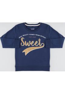 """Blusão Infantil """"Sweet"""" Em Moletom Azul Marinho"""