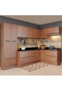 Cozinha Compacta Calábria 16 Portas Com Rodapé Nogueira/Malt - Multimóveis