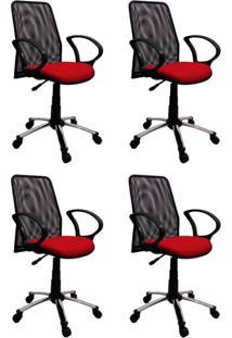 Conjunto 4 Cadeiras De Escritório Tela Diretor Giratória Cromada E Vermelha