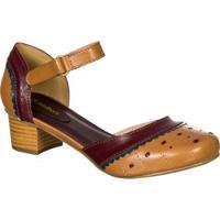 ccfe860ba0 Sapato Feminino Boneca Retro Malbork Em Couro - Feminino-Caramelo