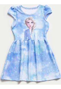 Vestido Infantil Estampa Elsa Frozen Disney