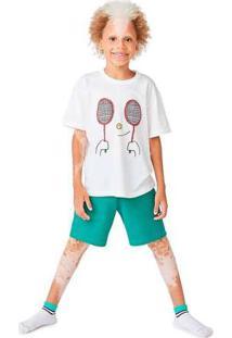 Pijama Infantil Menino Com Bordado Off-White
