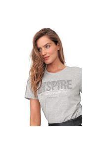 Camiseta Morena Rosa Bordada Cinza