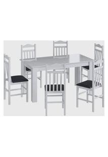 Conjunto Mesa Fixa 6 Cadeiras Branco Móveis Cançáo