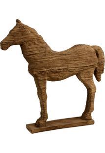 Escultura Decorativa De Resina Cavalo Bege