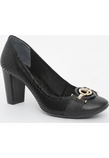 Sapato Em Couro Texturizado Com Aviamentos - Preto- Jorge Bischoff