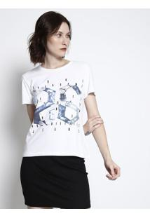 "Camiseta ""86""- Branca & Azul- Coca-Colacoca-Cola"