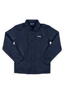 Camisa Manga Longa Em Tecido Quimby Azul Escuro