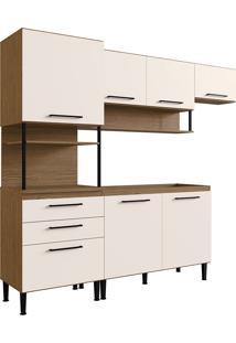 Cozinha Compacta 0312T-Genialflex - Castanho Fosco / Off White