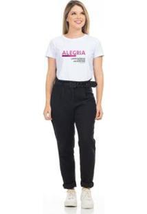 Camiseta Cropped Clara Arruda Viés Estampada 18020026 Feminina - Feminino-Branco