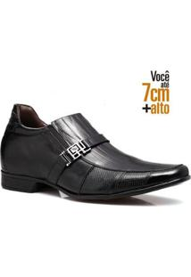 Sapato Social Couro Rafarillo Masculino Solado Borracha Leve - Masculino-Preto