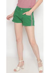 Short Em Sarja Com Faixas- Verde & Branco- Pacificpacific Blue