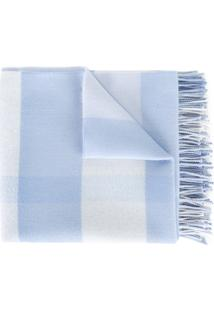 Burberry Kids Cobertor De Lã Merino Xadrez - Azul