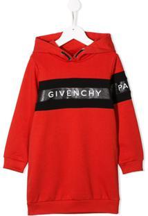 Givenchy Kids Vestido De Moletom Com Logo - Vermelho