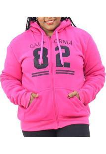 Jaqueta Moletom Plus Size Pelo Interno Capuz Feminina - Feminino-Pink