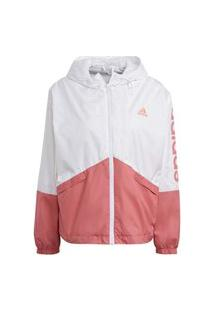 Jaqueta Corta Vento Adidas Linear Masculina Gm5623, Cor: Branco/Rosa, Tamanho: G