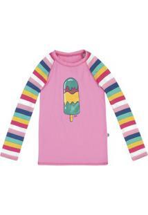 Camiseta Infantil Menina Estampada Em Malha Praia Com Fps 50 Puc [] []