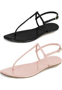 Kit 2 Pares Rasteiras Flat Simples Mercedita Shoes Verniz Preto E Verniz Rosa San - Preto - Feminino - Dafiti