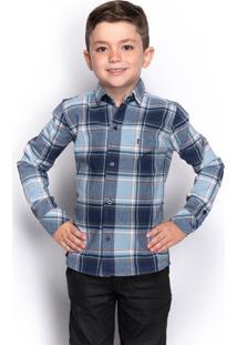 Camisa Social Juvenil Menino Manga Longa Xadrez Casual