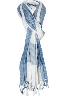 Echarpe Ateen Listras - Azul E Off White