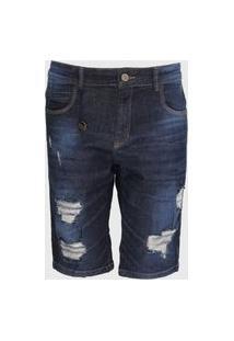 Bermuda Jeans Rock&Soda Reta Destroyed Azul-Marinho