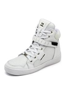 Bota Tênis Sneaker Lirom Fitness Cano Alto Couro Branco