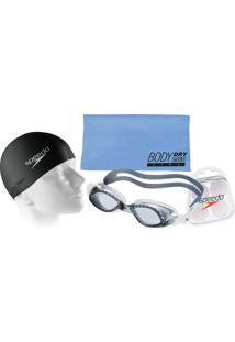 afa8d6f8c6cd1 Kit Natação Speedo Com Óculos Legend Fumê Fumê + Toalha + Protetor + Touca