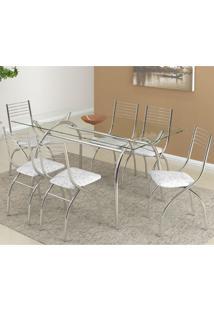 Conjunto De Mesa Com 6 Cadeiras Olivia Napa Branco Fantasia