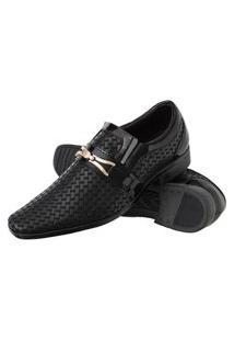 Sapato Social Com Texturas Solado Borracha Leve Preto