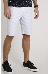 Bermuda De Sarja Masculina Reta Com Cordão Cinza Claro