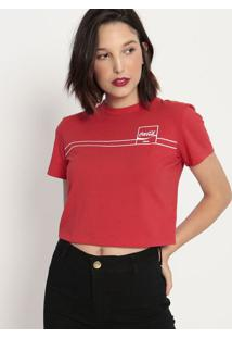 "Camiseta ""Coca-Cola Jeans®""- Vermelha & Branca- Cocacoca-Cola"
