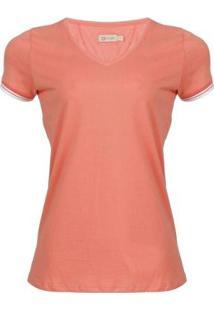 Camiseta Seeder Gola V Feminina - Feminino-Salmão