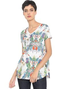 Camiseta Replay Floral Bad Habits Branca