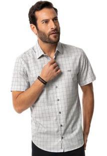Camisa Slim Fit Tecido Plano Cinza