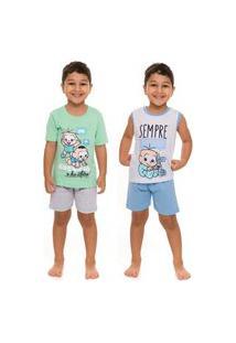 Kit 2 Pijamas Infantil Cebolinha E Cascáo Original Veráo