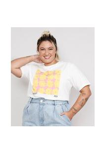T-Shirt Feminina Plus Size Mindset Floral Manga Curta Decote Redondo Off White