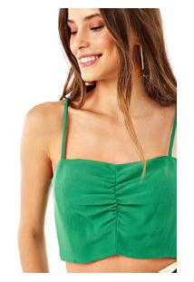 Top Com Franzido Cropped Verde Bonfim